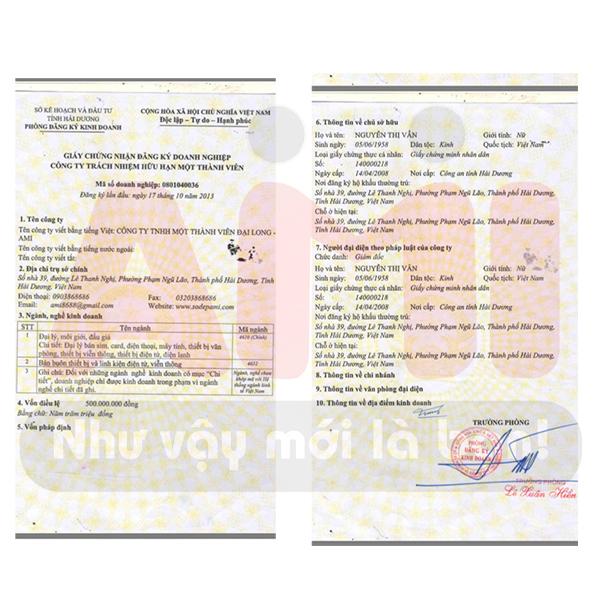 giấy chứng nhận kinh doanh hợp pháp
